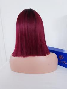 Burgundy red/black roots 1ace front synthetic Wig
