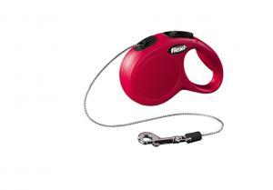 Flexi New Classic, hundkoppel 3 m rep, röd