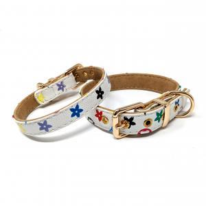 CatwalkDog Hundhalsband, vitt med guldfärgat spänne