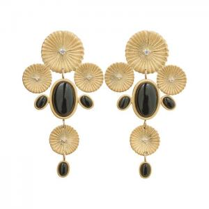 Edblad Örhänge Crinkle Onyx Maxi Earrings Matt Gold