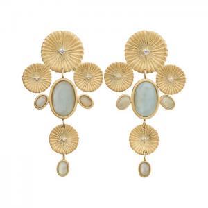 Edblad Örhänge Crinkle Aquamarine Maxi Earrings Matt Gold