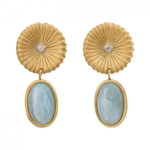 Edblad Örhänge Crinkle Aquamarine Earrings Matt Gold