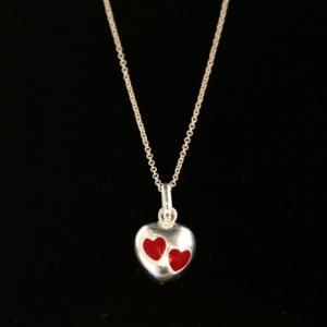 Silverhalsband - Emaljerat hjärta