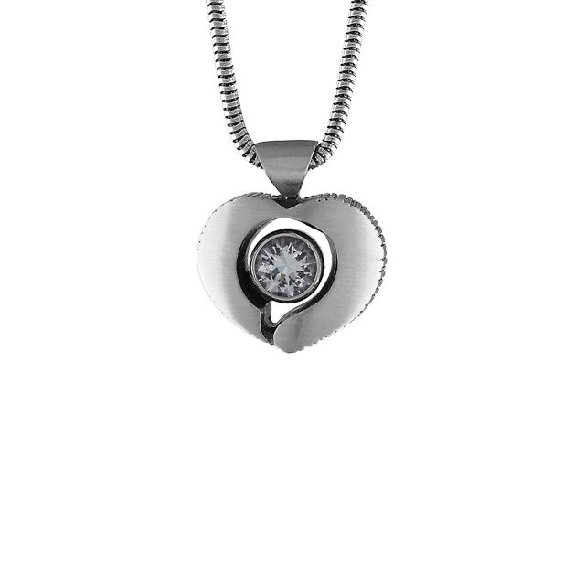 FinnFeelings Silverhjärta på snakekedja