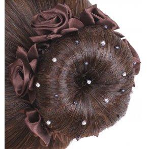 Hårnät med pärlor och kristaller brun
