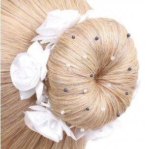 Hårnät med pärlor och kristaller blond