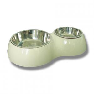 vita mat och vattenskålar till hund