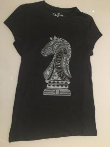 equiline t-shirt svart med silverhäst