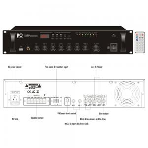 ITC T-60U Mixerförstärkare med USB 60W 100V