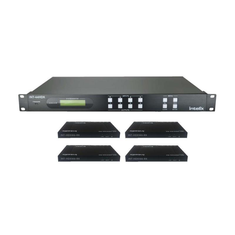 INT-44HDX-KIT, 4x4 HDBaseT matrix Kit + 4 receivers