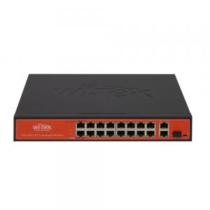 Wi-Tek PS518G CCTV-switch 16 portar 10/100 PoE+ 2x GE Uplink 1x SFP, extended range
