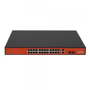 Wi-Tek PS526G CCTV-switch 24 portar 10/100 PoE+ 2x GE Uplink, 2x SFP, extended range