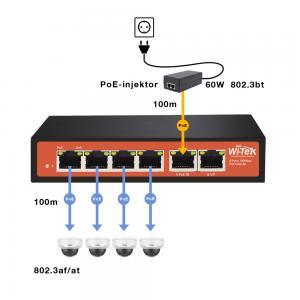 Wi-Tek PE51E PoE extender, 4xFE PoE out, 1xFE PoE input, 1xFE Uplink