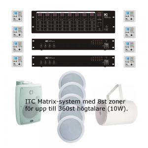 ITC T-8000, Ljud-Matrix med 8st zon-paneler. 2st 100V slutsteg totalt 8x500W