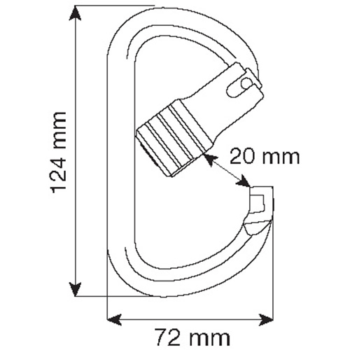 Carabiner Oval Alu 3-Lock 23kN