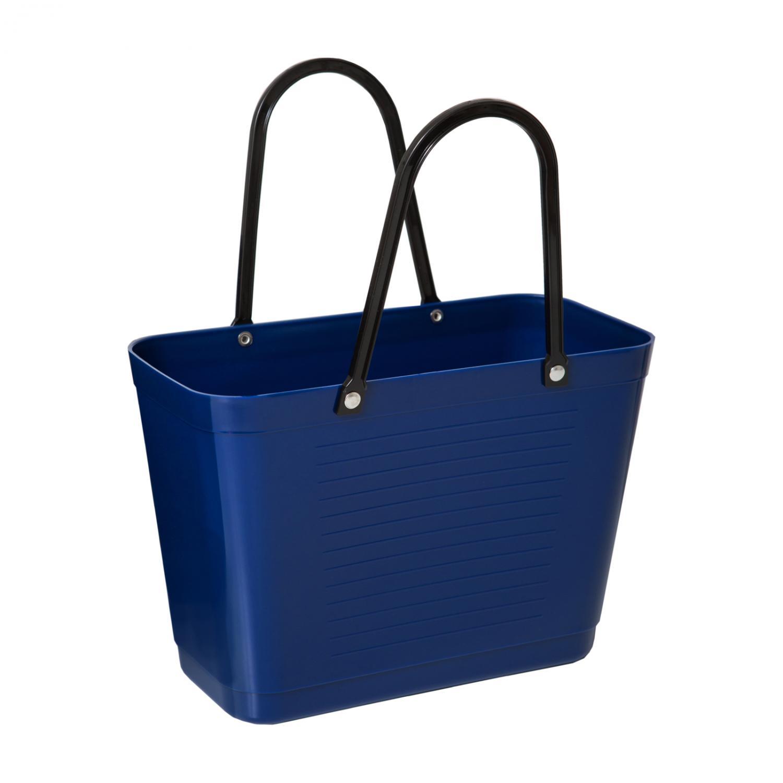 Väska Hinza Liten blå får plats i cykelkorgen