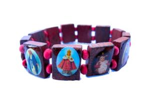 Jesus armband - Brun med rosa kulor