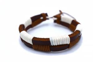 Brun och vit läderarmband