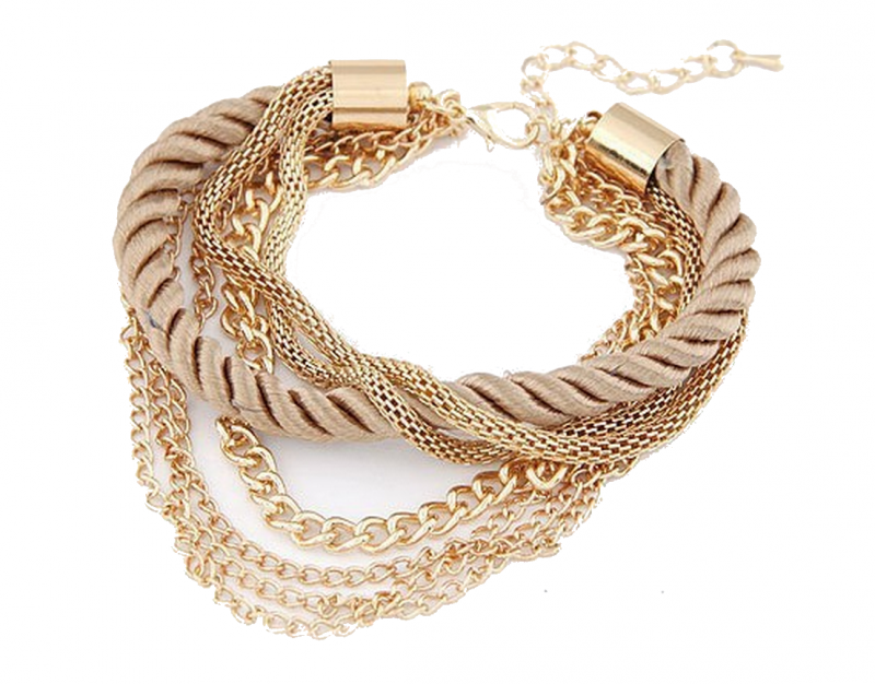 Guldfärgad flätat-tyg armband med olika guldfärgade kedjor