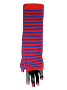 Armvärmare - randig röd och blå