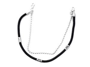 Byxkedja - svart läder och silverfärgad kedja