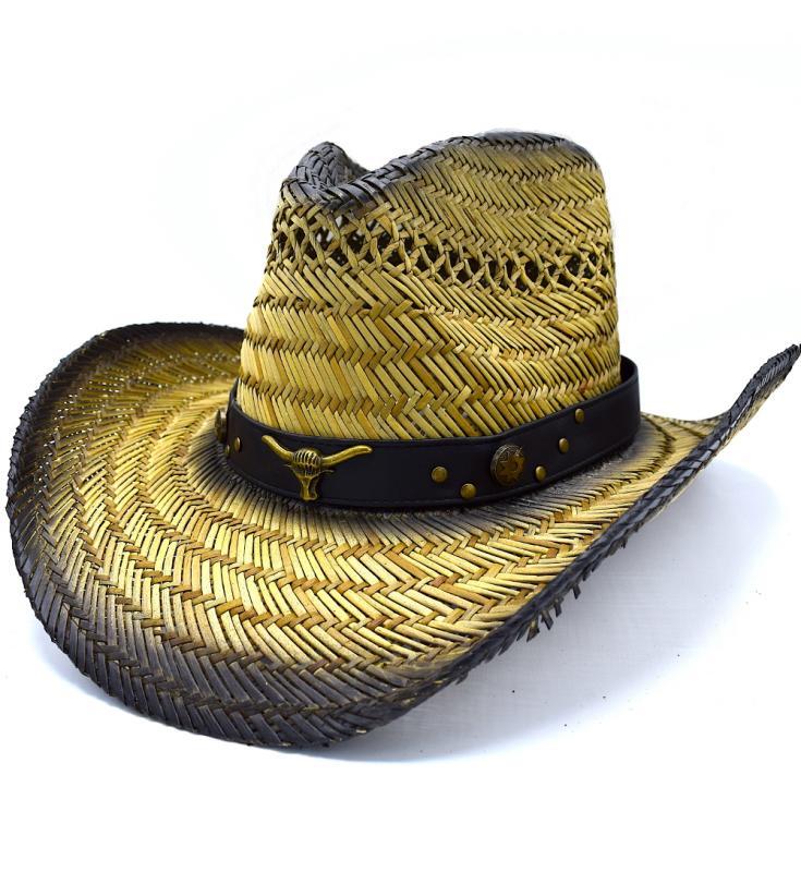 Cowboyhatt Tjur med läderrem - handgjord hatt