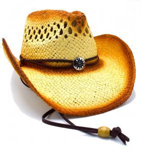 Cowboyhatt med medaljong och brun rem - handgjord hatt