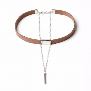 Brun Choker Halsband med kedja och hänge