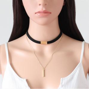 Svart Choker Halsband med kedja och hänge