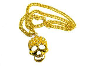 Guldfärgad halsband döskalle med vita kristaller