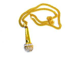 Microphone guldfärgad halsband med vita kristaller