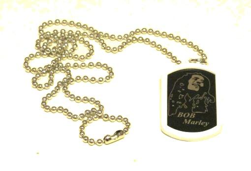 Bob Marley Dog Tag halsband vit ram