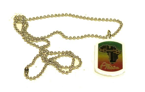 Afrika rasta Dog Tag halsband vit ram