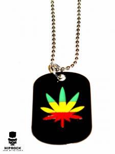 Halsband - Dog tag Rasta Marijuana