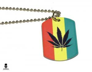 Halsband - Dog tag Rastafari Marijuana