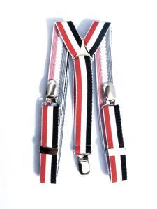 Hängslen - Randiga Röd, vit och svart