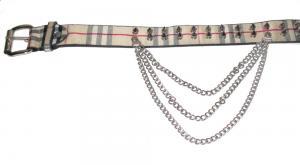 Nitbälte med spike nitar och kedjor - 2 rad