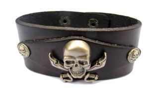 Läderarmband med pirat döskalle
