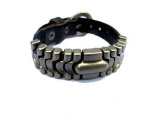 Svart läderarmband med smycken