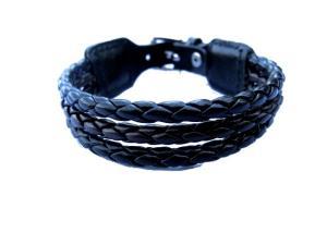 Läderarmband flätat svart
