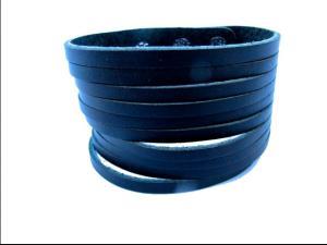 Läderarmband snittat - svart läder