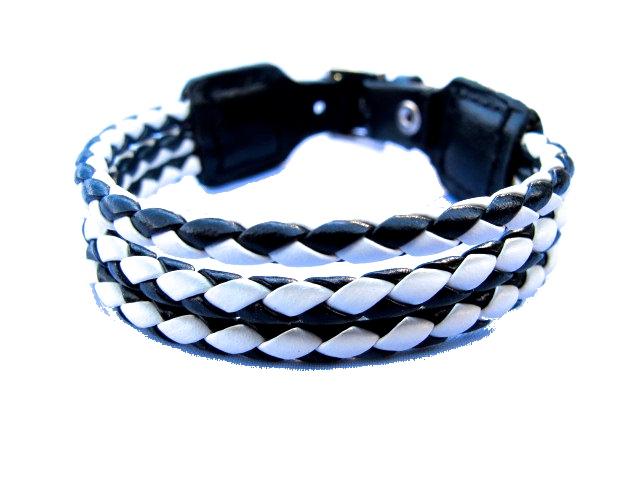 Läderarmband flätat svart och vit