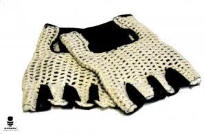 Läderhandskar - Stickad