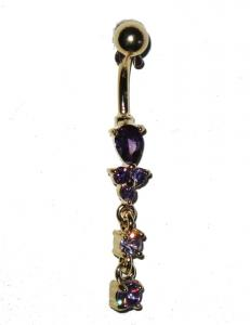Navel Piercing - Purple Pearls
