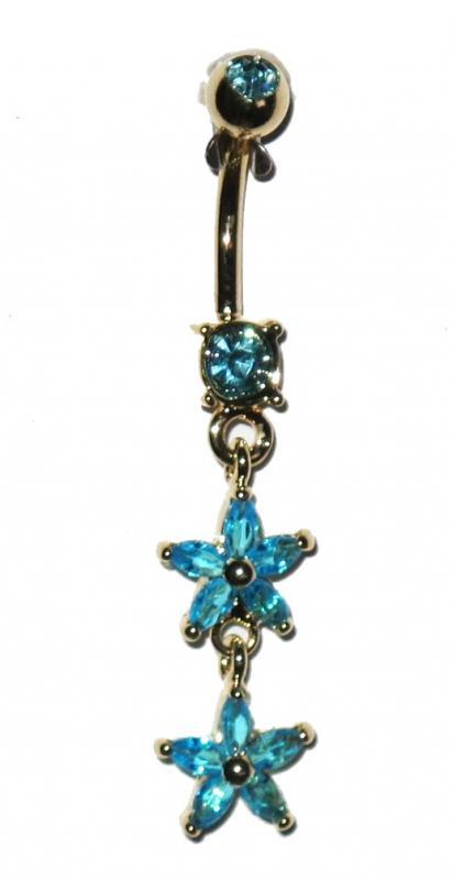 Navel Piercing - Blue Stars