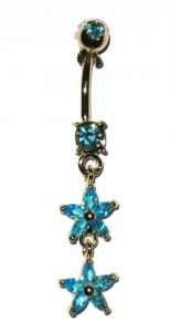 Navel Piercing - Blue Stars