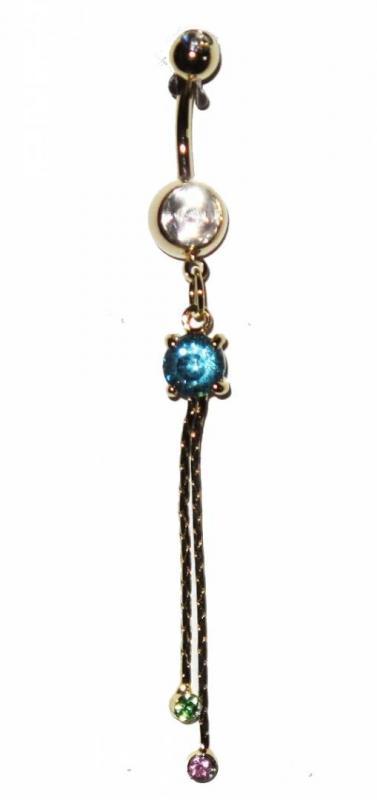 Navel Piercing - Blue Pearls