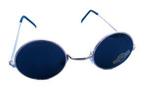 Klassiska runda solglasögon - Mörka med silverfärgade bågar