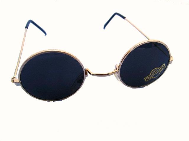 Klassiska runda solglasögon Mörka med guldfärgade bågar