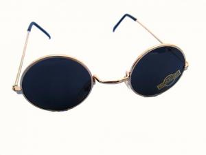 Klassiska runda solglasögon - Mörka med guldfärgade bågar